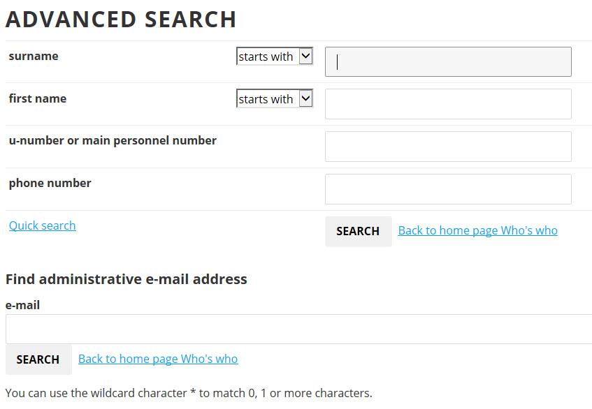 Who's Who advanced search